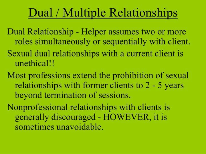 dual relationships boundaries standards of care termination See volume ii on dual relationships, boundaries, standards of care and termination what therapists are saying dr feldman's legal and ethical issues for mental health professionals accomplishes something i did not think possible.