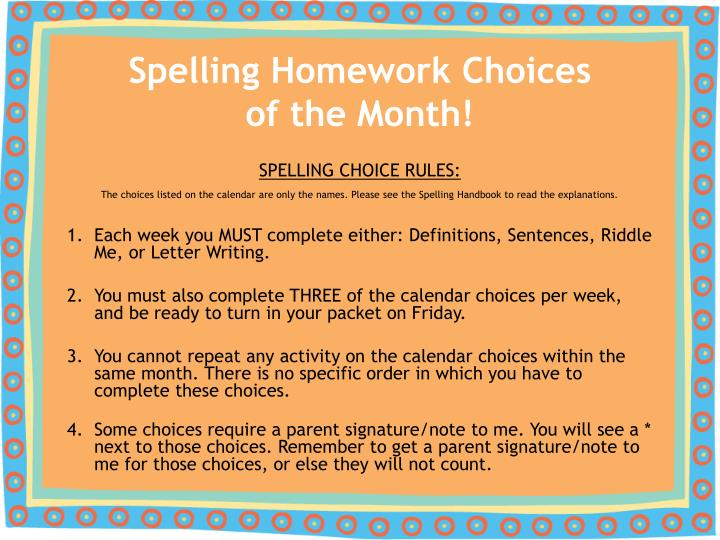 spelling homework choices of the month n.