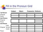 fill in the pronoun grid