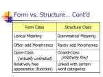 form vs structure cont d