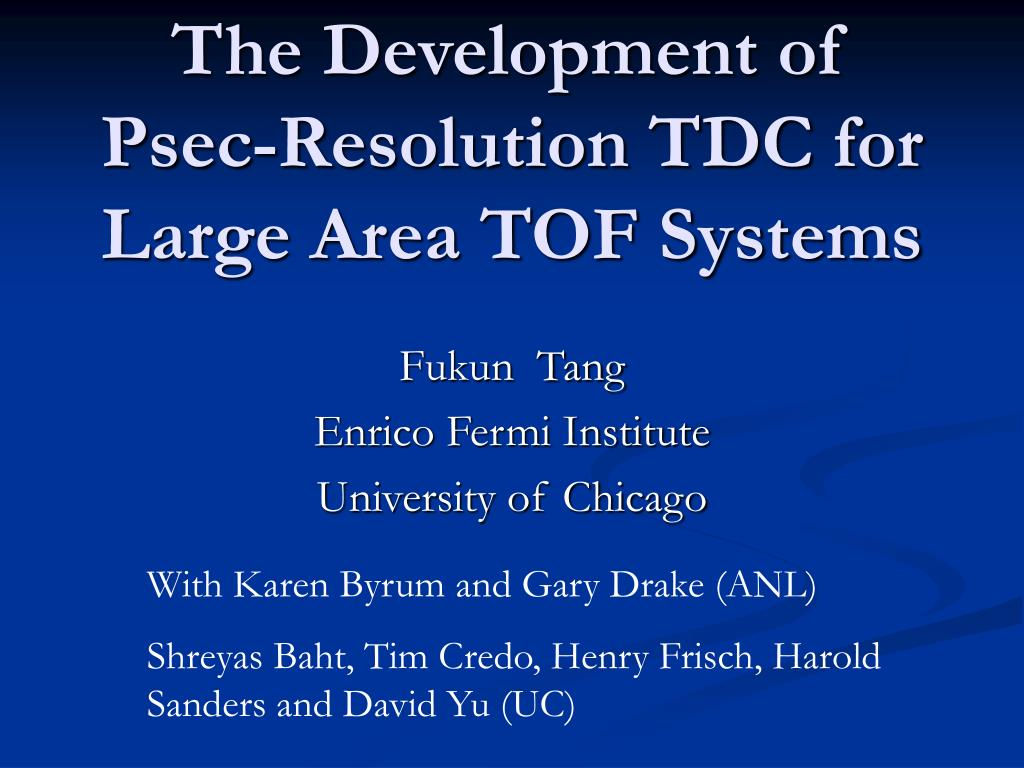 the development of psec resolution tdc for large area tof systems