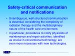 safety critical communication and notifications
