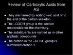 review of carboxylic acids from as1