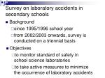 survey on laboratory accidents in secondary schools