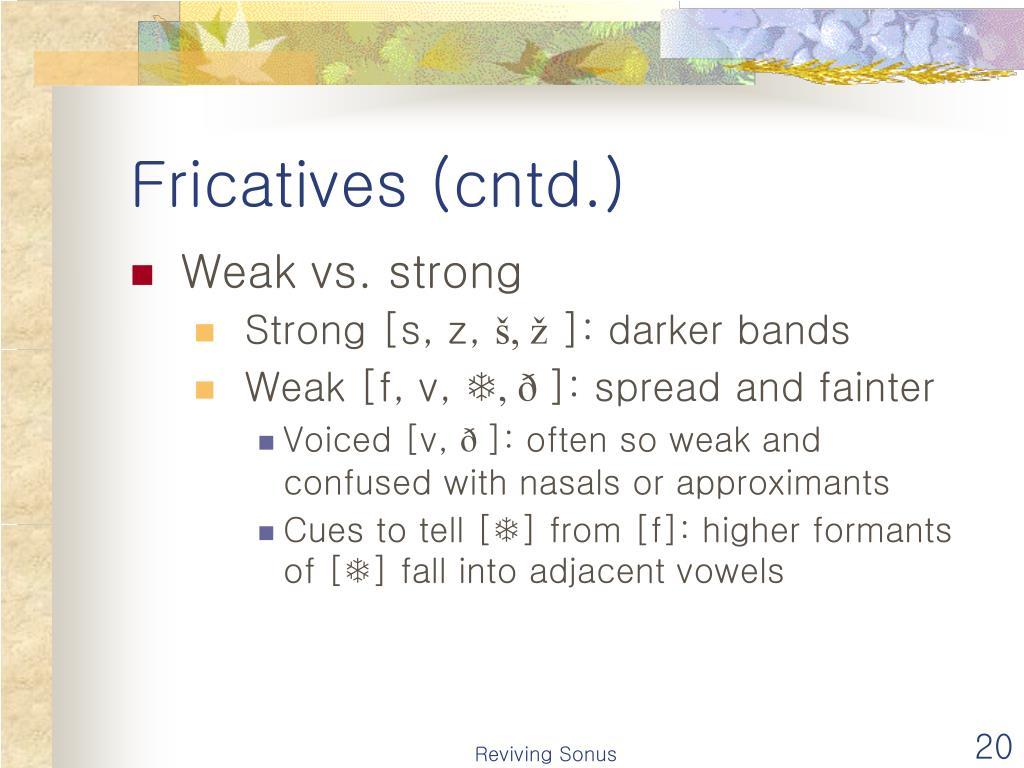 Fricatives (cntd.)