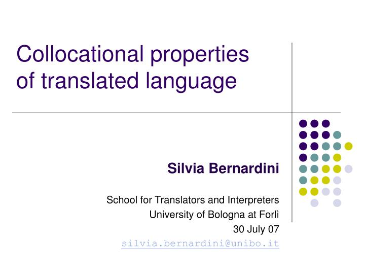 collocational properties of translated language n.