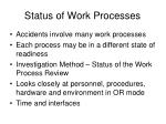 status of work processes