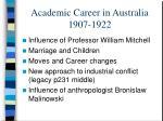 academic career in australia 1907 1922