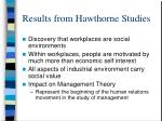 results from hawthorne studies