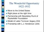the wonderful opportunity 1922 1932