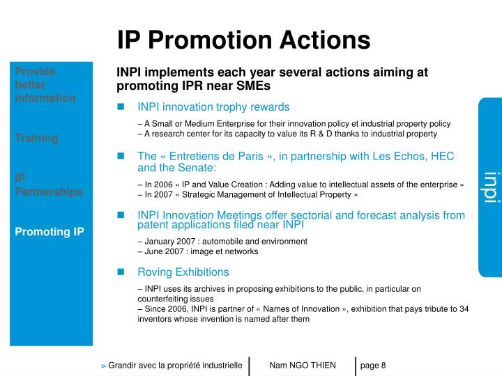 IP Promotion Actions