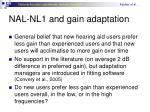 nal nl1 and gain adaptation