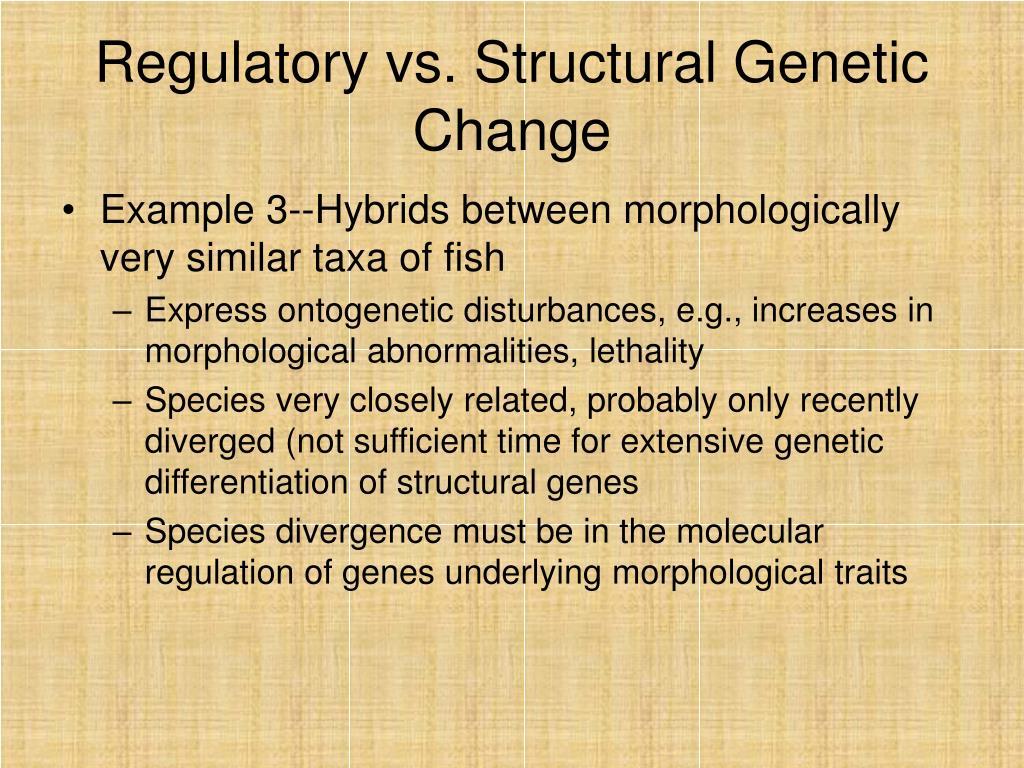 Regulatory vs. Structural Genetic Change