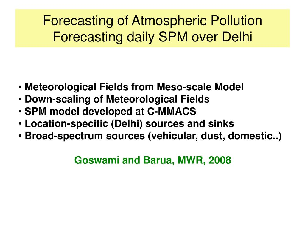 Forecasting of Atmospheric Pollution