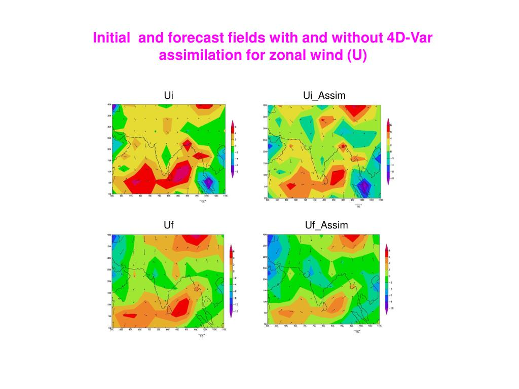 Initial  and forecast fields with and without 4D-Var assimilation for zonal wind (U)