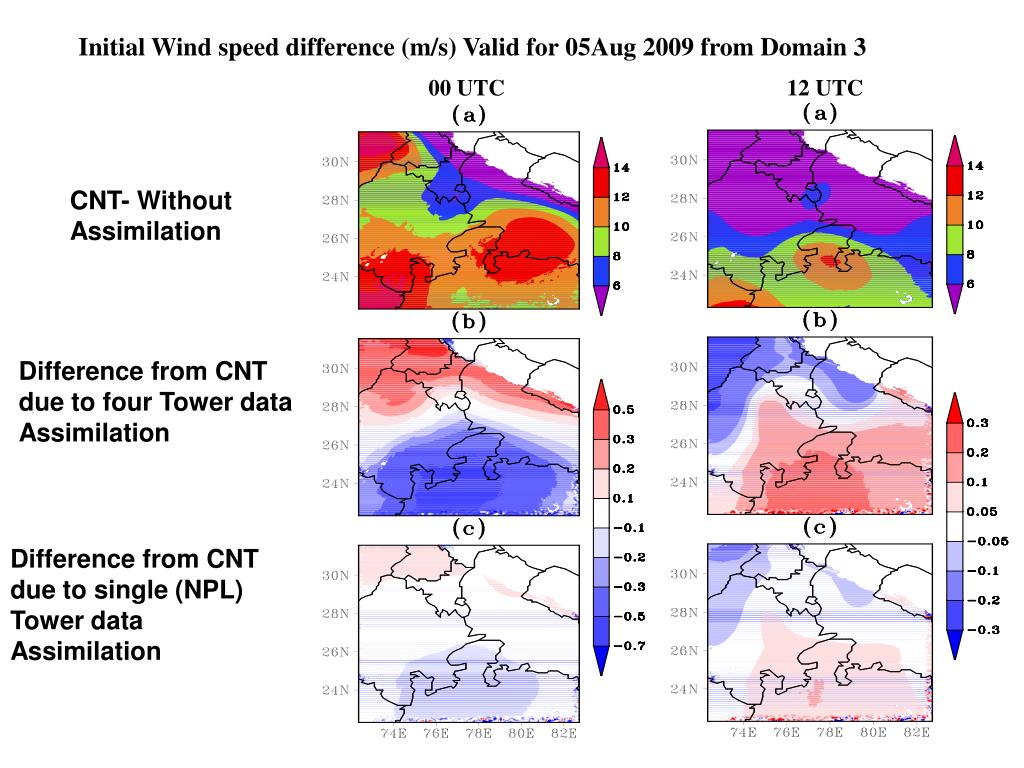 Initial Wind speed difference (m/s) Valid for 05Aug 2009 from Domain 3