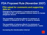 fda proposed rule november 2007
