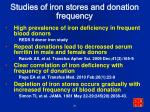 studies of iron stores and donation frequency