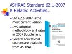 ashrae standard 62 1 2007 related activities