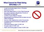 what cannot be filed using efs web 1 1