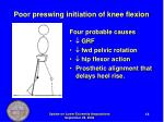 poor preswing initiation of knee flexion