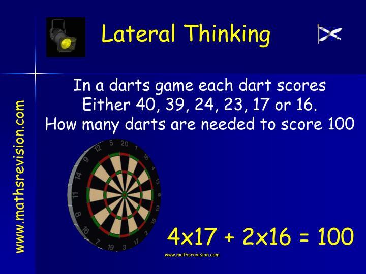 In a darts game each dart scores