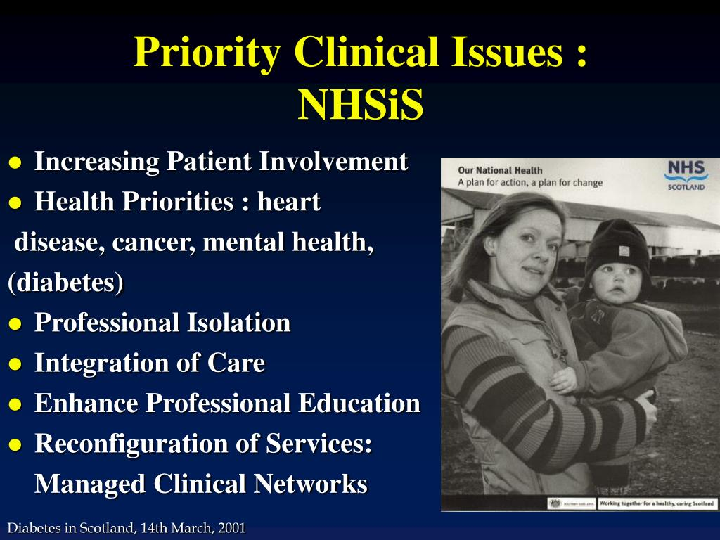 Priority Clinical Issues : NHSiS