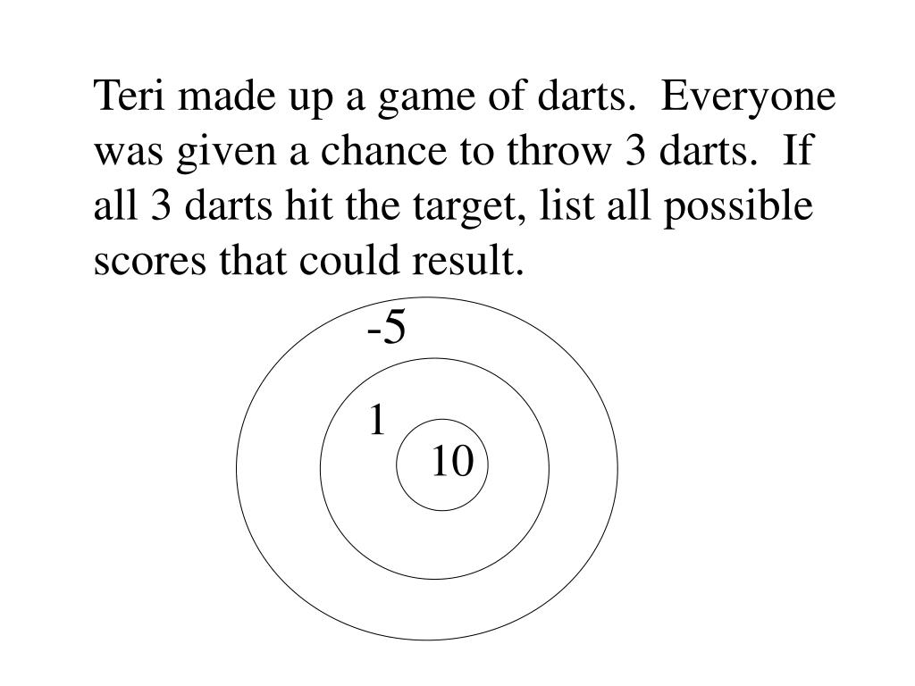 Teri made up a game of darts.  Everyone was given a chance to throw 3 darts.  If all 3 darts hit the target, list all possible scores that could result.