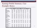 earnings profile summary case example kenya