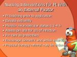 nursing interventions for pt with an external fixator