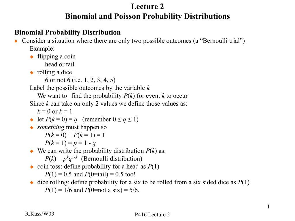 lecture 2 binomial and poisson probability distributions l.