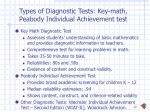 types of diagnostic tests key math peabody individual achievement test