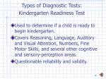 types of diagnostic tests kindergarten readiness test