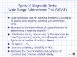 types of diagnostic tests wide range achievement test wrat