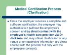 medical certification process clarification