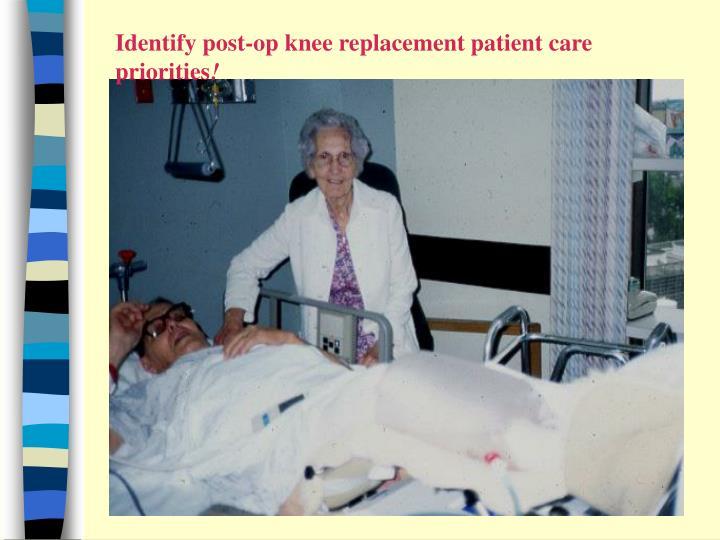 Identify post-op knee replacement patient care priorities