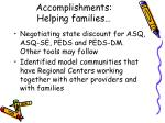 accomplishments helping families