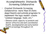 accomplishments statewide screening collaborative
