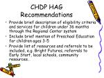 chdp hag recommendations