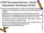 chdp recommendations health assessment guidelines hag