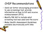 chdp recommendations