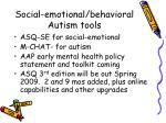 social emotional behavioral autism tools