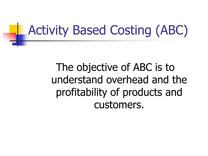 activity based costing abc n.