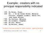 example creators with no principal responsibility indicated