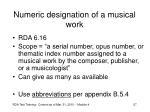 numeric designation of a musical work