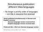 simultaneous publication different titles languages