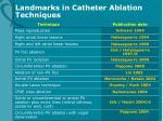 landmarks in catheter ablation techniques
