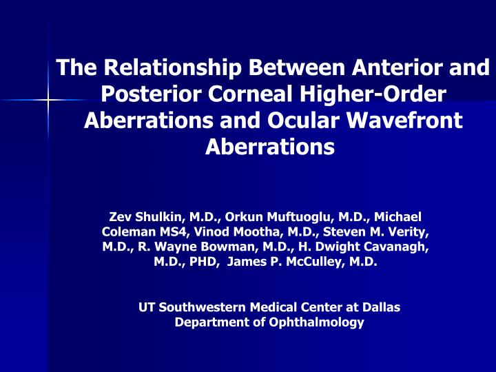 ut southwestern medical center at dallas department of ophthalmology n.