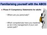 familiarising yourself with the abcd