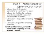 step 4 abbreviations for supreme court action